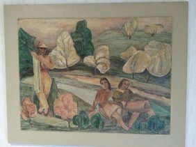 Marianna Von Allesch Mixed Media On Canvas Very Rare