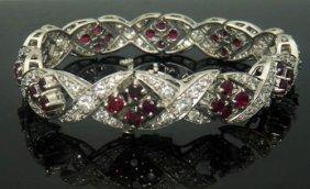 "Platinum 13.5tcw Vs1-2 G-h Diamond & Ruby X Bracelet 7"""