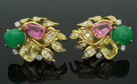 David Webb Platinum & 18k Emerald Tourmaline Earrings