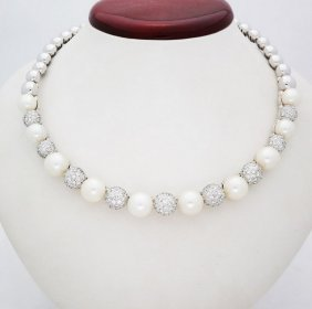 Stefan Hefner 18k Pearl 8tcw Vvs-vs Diamond Necklace