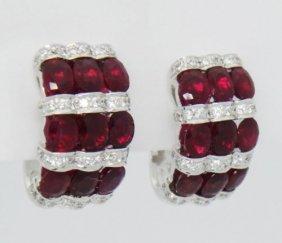 6.40 Carats Tcw Natural Rubies & Diamonds 18k Earrings