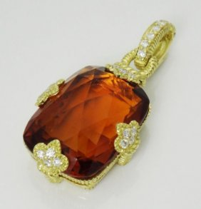 Judith Ripka Diamond Madeira Citrine 18k Yellow Gold