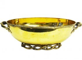 Tiffany & Co Makers Silver Gilt Two-handled Oval Bowl