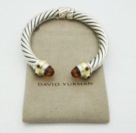 David Yurman Renaissance Citrine Ruby 925 585 Gold Cuff