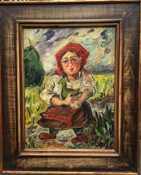 David Burliuk Russian - American Oil Painting On Board