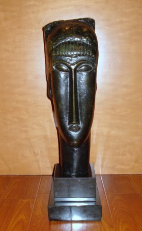 Amedeo Modigliani Large Italian Bronze Sculpture Tête