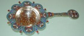 Antique Russian Silver Enamel Sieve For Tea
