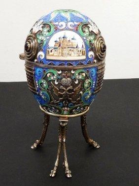 Large Russian Silver Enamel Egg W/ Miniature Buildings