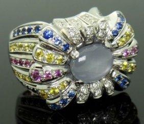 14k W Gold Diamond Natural Star & Multi Colored Ring