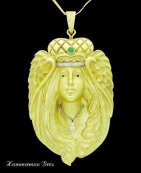 Hammerman Bros 18k Y Gold Diamond & Emerald Pendant