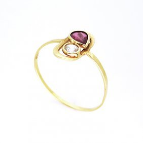 Victorian 18k Gold, 0.10ct Diamond & 0.15ct Ruby Ring