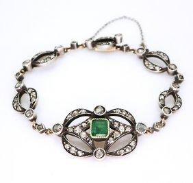 14k Gold Antique French Bracelet Diamonds & Emerald