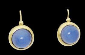 14k Yellow Gold Cabochon Moonstone Drop Dangle Earrings