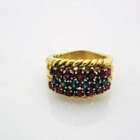 Hammerman Brothers 18k Yellow Gold Ruby & Diamond Ring