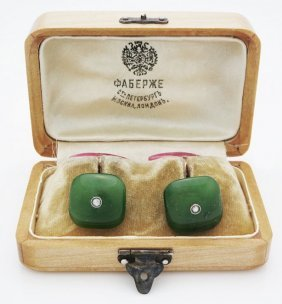 Rare Russian Gold Jade Rose Quartz Cufflinks Diamonds