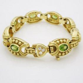 Judith Ripka 18k Yellow Gold Diamond Peridot Bracelet