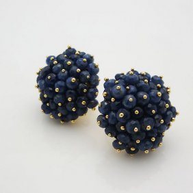 Legi 18k Yellow Gold And Sapphire Clip On Earrings
