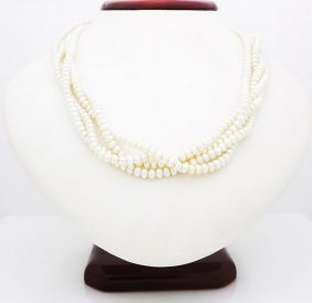 18k Yellow Gold Pearl And Diamond Necklace