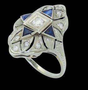 Antique Art Deco 18k White Gold 0.65 Cts Tcw Diamond &