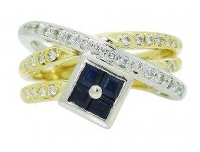 18k Multi Tone Gold Platinum Diamond & Blue Sapphire