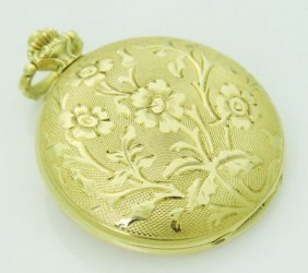 Rare Pontiac Solid 14k Yellow Gold Pocket Watch 17