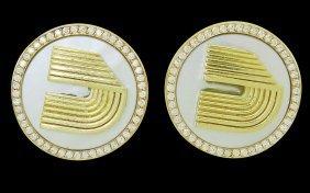 18k Yellow Gold Mother Of Pearl & 0.44 Tcw Diamond