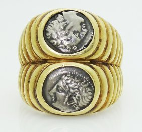 Bvlgari 18k Yellow Gold Ancient Roman Double Coin Ring