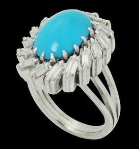 Estate Platinum 1.00 Ct Tcw Vs H Diamond & Turquoise