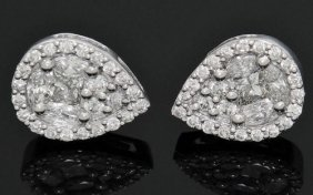 18k Gold 2.00 Tcw Diamond Teardrop Cluster Earrings