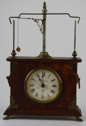 Pat 1883 Jerome Flying Pendulum Clock, Running