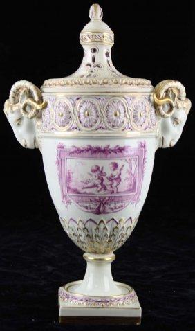 18th C. Continental Soft Paste Porcelain Garniture Urn