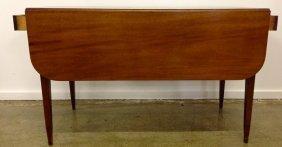"44"" Hepplewhite Mahogany 2 Drawer Drop Leaf Table"