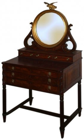 "32"" Sheraton Mahogany Mirror Back Dressing Table"