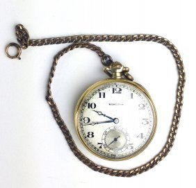 14k Y.g. Hamilton Open Face Pocket Watch With Silvered