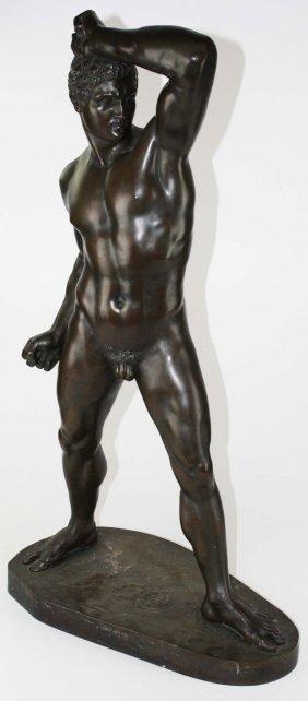 After A Dressler (german 1814- 1868) Bronze Male Nude