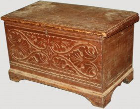 17th-18th C American Carved Oak And Pine Red Painted