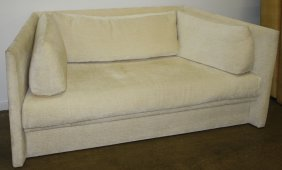Contemporary Angle Sofa Upholstered In Cream Neutral