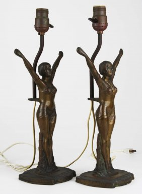 Pr Of Bronze Deco Dancer Table Lamps, Overall Ht 17""
