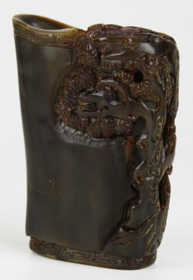 19th C Chinese Rhinoceros Horn Libation Cup, Formerly