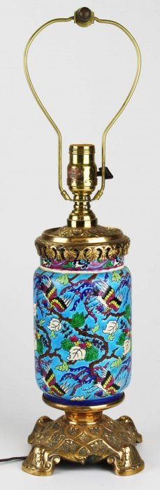 French Longwy Gilt Brass & Enamel Table Lamp, Overall