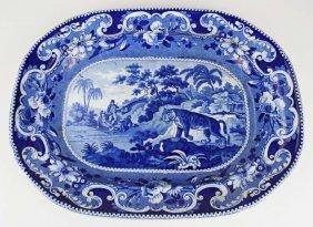 Enoch Wood Deep Blue Staffordshire Porcelain