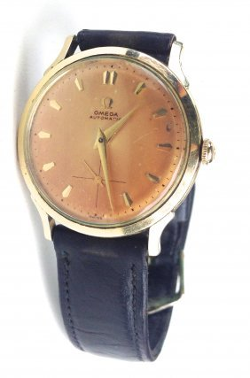 Men's Omega Automatic Gold Filed Wrist Watch With Dark