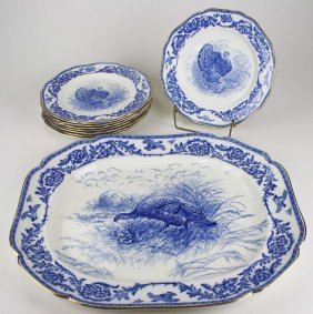 Royal Cauldon Late Flow Blue Porcelain Turkey Platter
