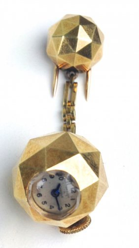 Van Cleef Yellow Gold Ball And Chain Watch Brooch. Ball