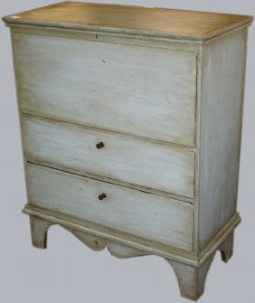 18th C Queen Anne Pine Two Drawer Blanket Chest On