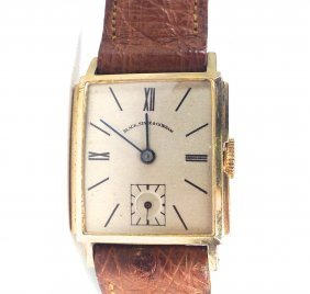 Men's 14k Y.g. Black Starr & Gorham Wrist Watch.
