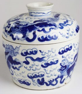 Chinese Blue & White Covered Jar, Underglaze Blue