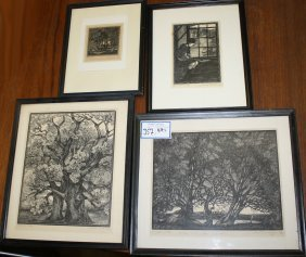 Alec Buckels (english 20th C ) Four Woodblock Prints