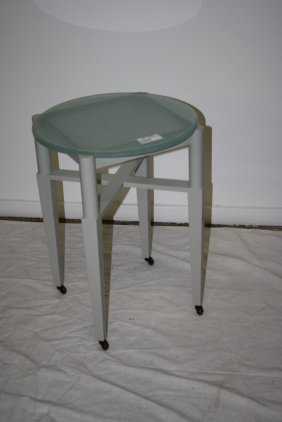 Contemporary Modern Frosted Glass Occasional Table On