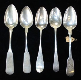 Coin Silver Serving Spoons. Hallmarked. 5 Pcs.